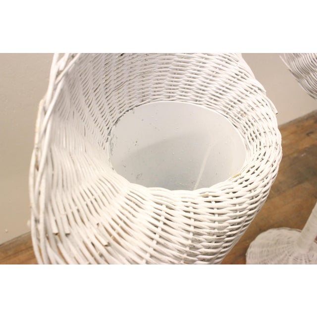 Modern White Wicker Lily-Shaped Tulip Planter Stands - a Pair For Sale - Image 10 of 11