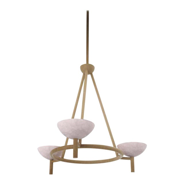 Contemporary 200A Chandelier in Alabaster and Brushed Brass by Orphan Work, 2020 For Sale
