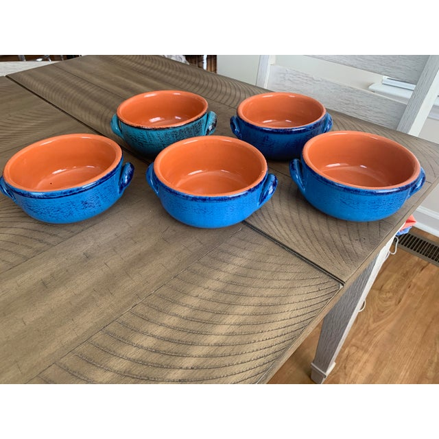 Vintage DeSilva Rustic Painted & Glazed Terra Cotta Soup Bowls With Handles- Set of 5 For Sale - Image 12 of 12