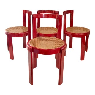 Vintage Italian Dining Chairs in the Manner of Scarpa For Sale