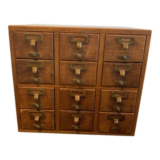Industrial 12 Drawer Oak Library Card Catalogue With Brass Hardware For Sale