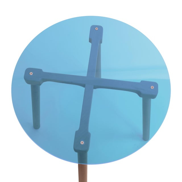 """Contemporary Ac/Bc Small Round 23.5"""" Kids Table in Walnut With Blue Acrylic Top For Sale - Image 3 of 5"""