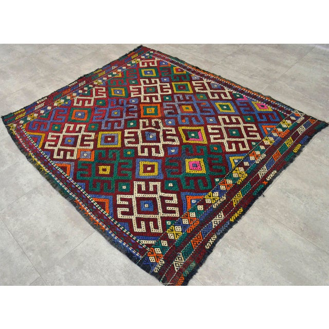 """Dimension: 61"""" x 68"""" Excluding fringe Material :The original Kilim is made of hand spun wool on wool Condition: Used. In..."""