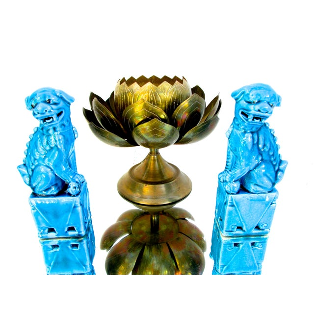 Turquoise Foo Dogs - A Pair - Image 10 of 10