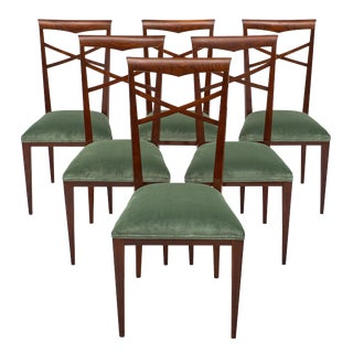 Italian Walnut Sage Green Upholstered Dining Chairs - Set of 6 For Sale