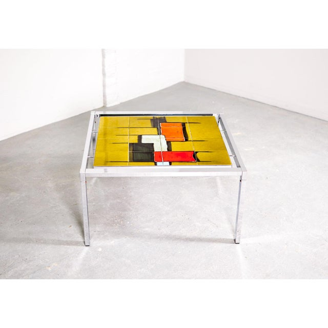 Mid-Century Abstract Design Ceramic Side Table With Chrome Frame, 1970s For Sale - Image 4 of 11