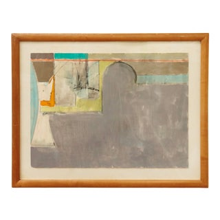 Midcentury Abstract Gouache on Paper For Sale