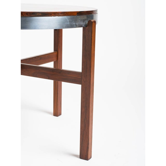 1980s Norwegian Rosewood Side Table With Metal Trim For Sale - Image 5 of 9