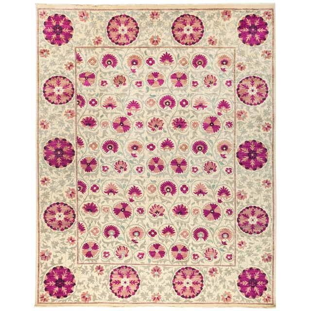 """New Hand-Knotted Suzani Rug - 9'1"""" X 11'4"""" For Sale"""