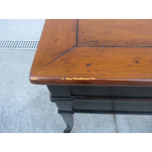 Black Theodore Alexander Antiqued Black Lacquer Side Table For Sale - Image 8 of 13