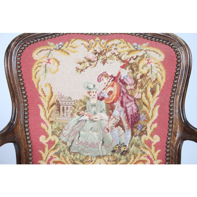 Vintage 1940s Louis XVI-Sty Needlepoint Fauteuil - Image 3 of 4
