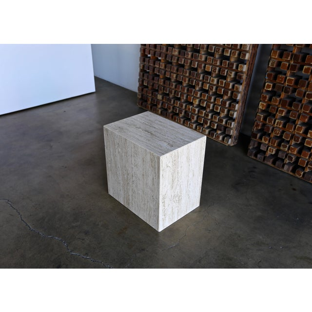 White Travertine Pedestal or Side Table, Circa 1975 For Sale - Image 8 of 12