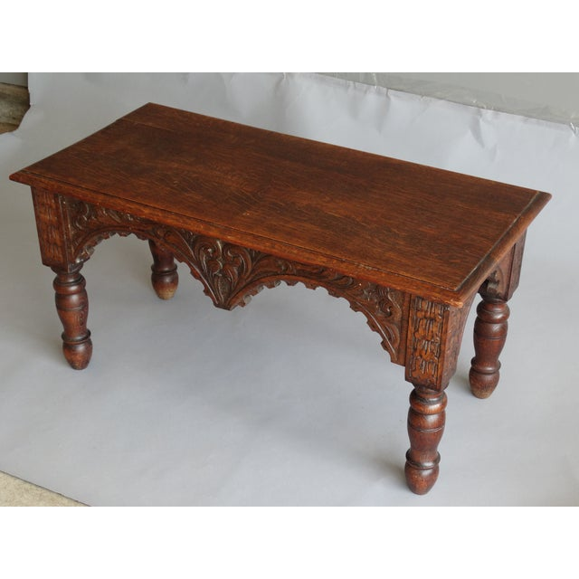 Wood Antique French Carved Oak Bench For Sale - Image 7 of 11