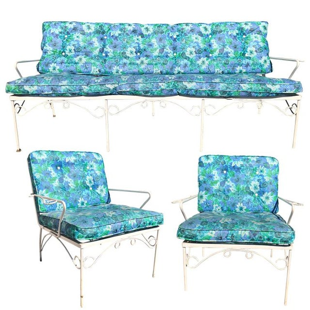 Mid Century 3 Piece Outdoor White Iron Patio Chairs & Bench For Sale - Image 11 of 11
