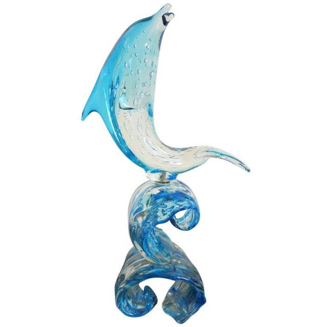 Glass Dolphin on Wave Murano Glass Sculpture by Sergio Costantini For Sale - Image 7 of 7