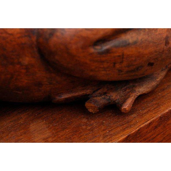 Frogs Bookends Hand Carved in Mahogany - a Pair For Sale - Image 4 of 6