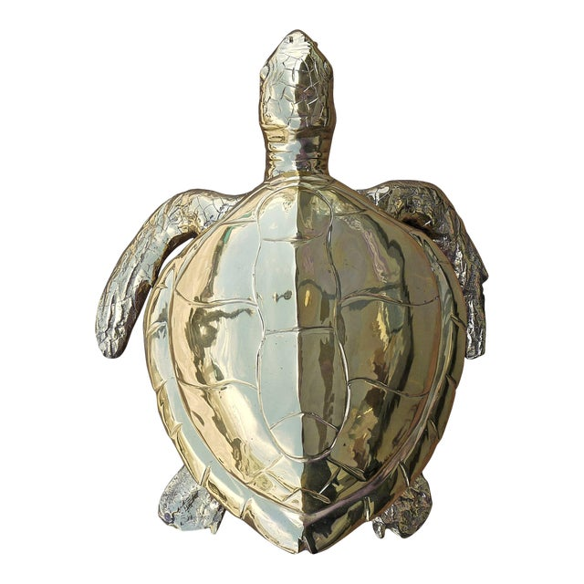 Stunning Large Scale Brass Sea Turtle Box For Sale