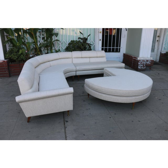 1960s Mid Century Modern 4 Piece Sectional and Ottoman - Set of 4 For Sale - Image 4 of 10