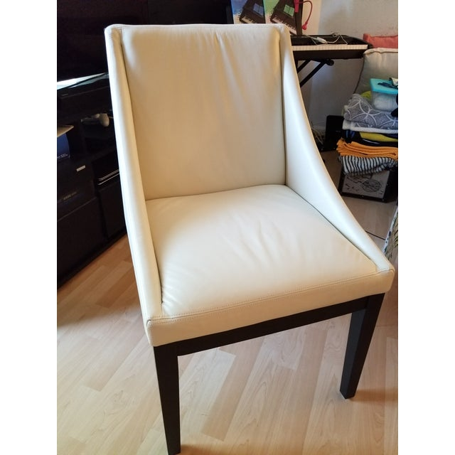 Contemporary West Elm Curved Leather Dining Chair For Sale - Image 3 of 6