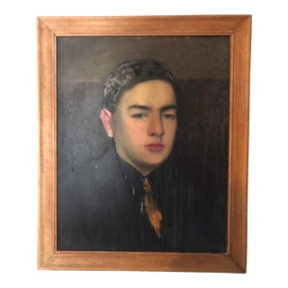 1940s Figurative Somber Portrait Painting For Sale