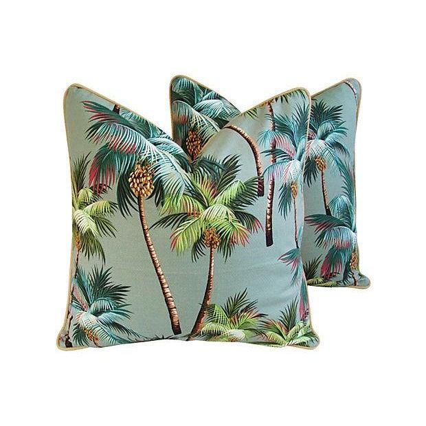 Custom Oasis Palm Tree Barkcloth Pillows- a Pair - Image 1 of 7