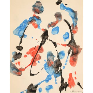 Red and Blue Abstract Late 20th Century Oil on Paper For Sale