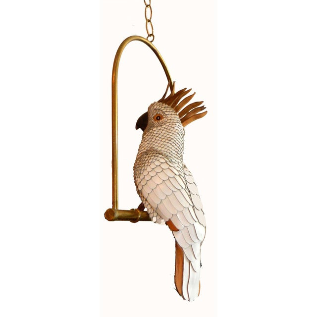 """White and brown leather Signed """"FEDERICO"""" Mexico very elegant cockatoo on a swing. Measurements : 18""""H with the swing,..."""