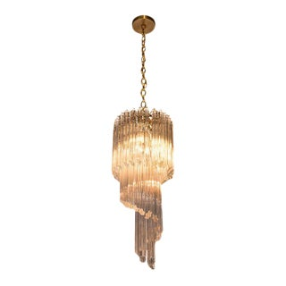 Mid-Century Modern Three-Tier Cut Triedre Camer Glass and Brass Chandelier For Sale