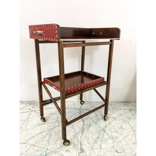 1950s Vintage Leather 2 Tray Bar Cart - Image 2 of 5
