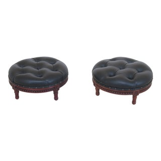 1990s Vintage Round Tufted Black Leather Ottoman- A Pair For Sale