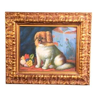 Seated Pekingese Dog & Ginger Jar Painting