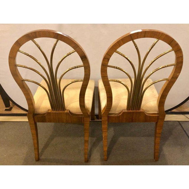1960s Set of 14 Mid-Century Modern Master-Craft Bronze Mounted Burl Wood Dining Chair For Sale - Image 5 of 13