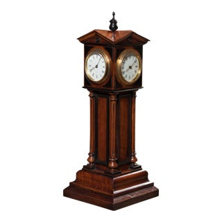 Walnut 4 Dial Tower Table Clock by Patent, Blumberg & Co, Ltd., Paris & London For Sale