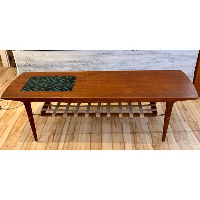 Danish Modern 1960s Danish Modern Arne Hovmand-Olsen Teak Coffee Table With Tile Inlay For Sale - Image 3 of 13