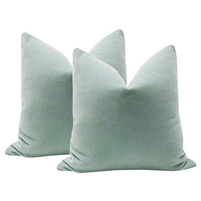 "22"" Mohair Velvet Pillows in Spa Blue - A Pair - Image 1 of 5"