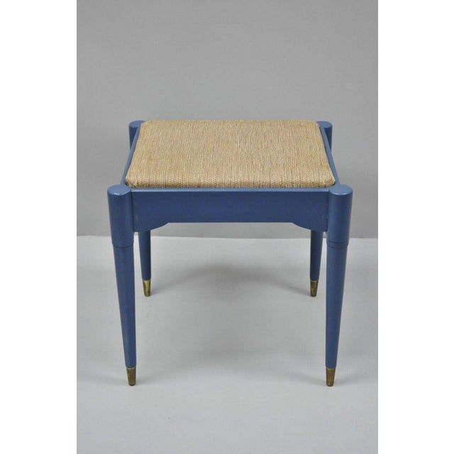 Vintage Mid Century Modern Danish Style Blue Painted Piano Bench Storage. Item features brass capped feet, blue painted...