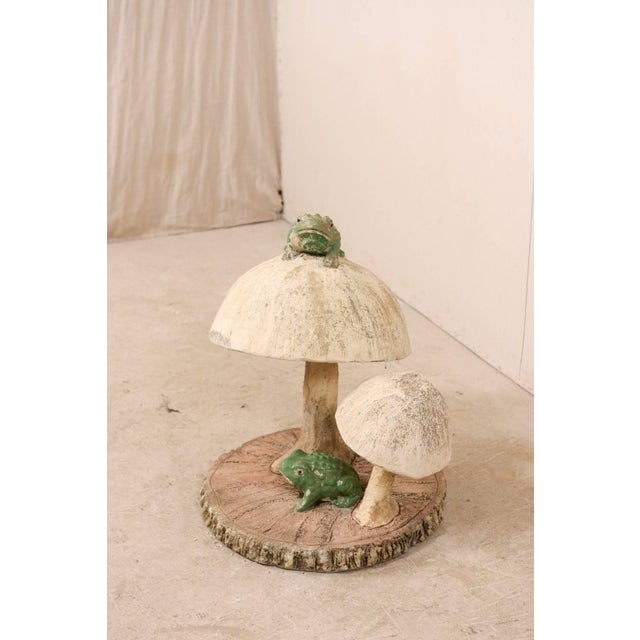 Folk Art Tall Mushrooms and Frogs Garden Sculpture on Faux Bois Slab Base For Sale - Image 3 of 11