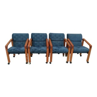Vintage Mid Century Rolling Arm Chairs- Set of 4 For Sale