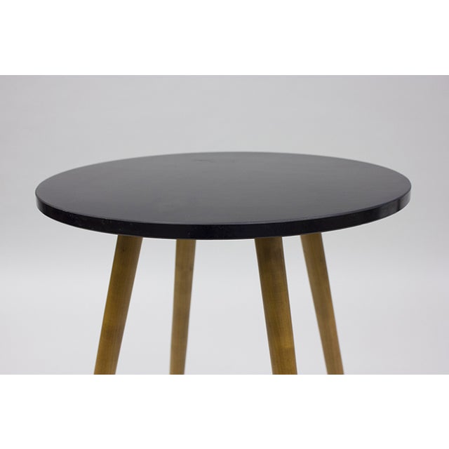 Mid-century Black Laminate & Tall Wood Side Table - Image 3 of 4