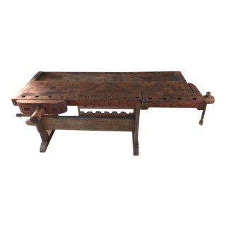 Antique Wood Workers Carpenters Bench , Kitchen Island