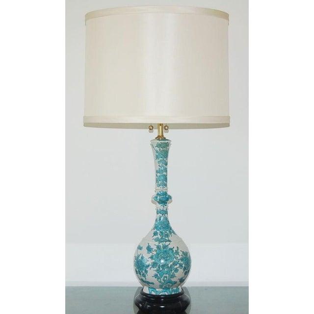 Asian Marbro Italian Porcelain Table Lamps Aqua For Sale - Image 3 of 9