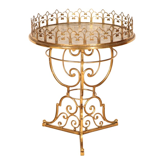 Brass & Marble Center Table For Sale