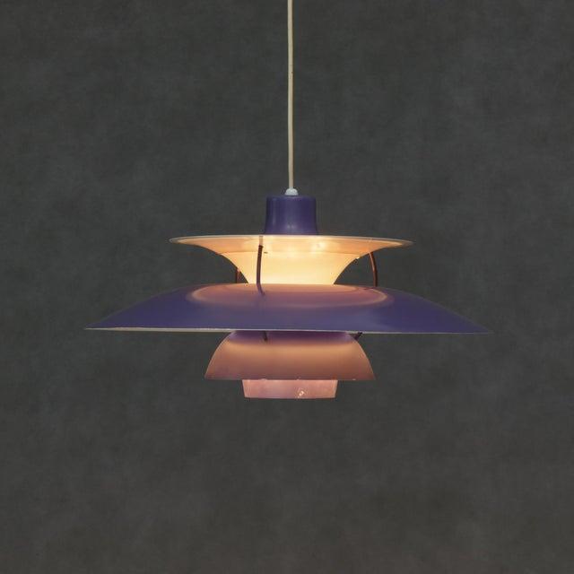 Mid 20th Century Louis Poulsen Ph5 Purple Pendant Lamp For Sale - Image 5 of 6