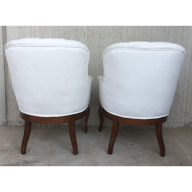 Textile 19th Pair of Louis XV Bergère Armchairs in White Velvet For Sale - Image 7 of 12