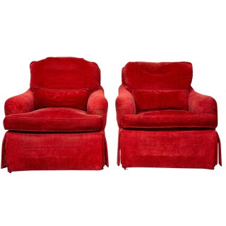 1990s Baker Furniture Plush Upholstered Club Chairs -A Pair For Sale