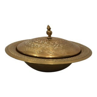 Indian Etched Brass Serving Dish