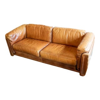 Cognac Leather Sofa, Italy, 1970s-1980s For Sale
