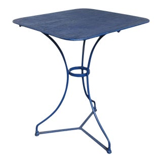 Blue Distressed French Bistro Garden Table For Sale