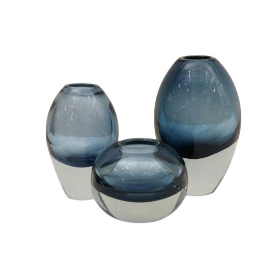 Molded Blue Glass Vases - Set of 3 For Sale