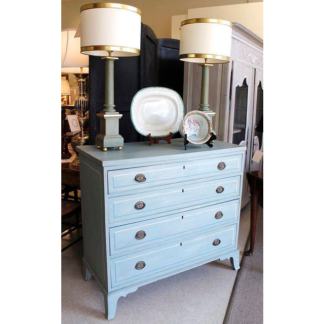 American Blue Painted Federal Chest of Drawers on French Feet - Image 2 of 11